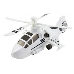 Helikopter policyjny biały emitujący obrazy.